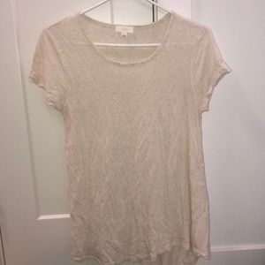 Wilfred tshirt cream white speckled top stretchy